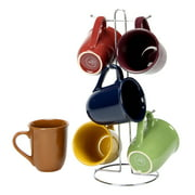 Cafe Amaretto Set of 6 Assorted Mugs With Wire Rack