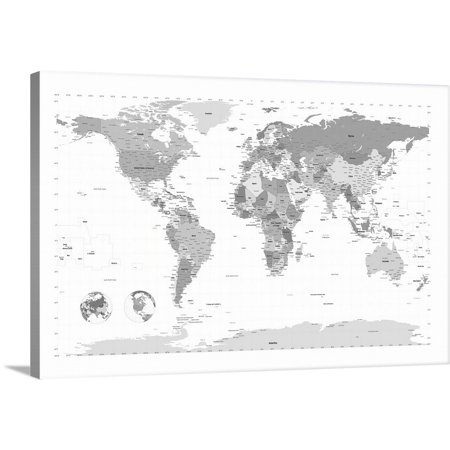 Great BIG Canvas | Michael Tompsett Premium Thick-Wrap Canvas entitled World Map black and (World Map Black And White High Resolution)