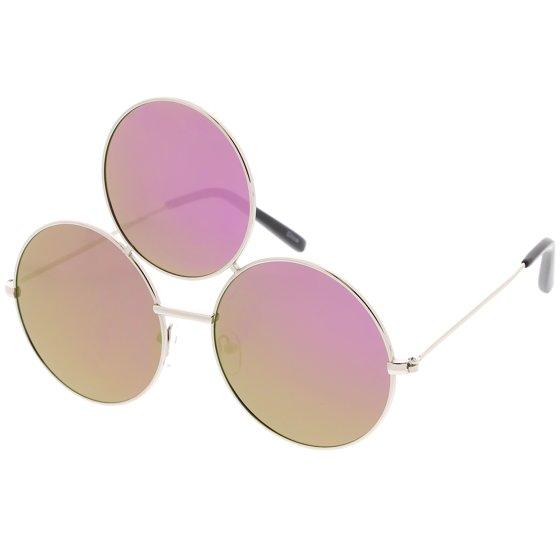 e497d7e7ea Oversize Circle Third Eye Sunglasses Slim Arms 56mm (Silver   Purple Mirror)