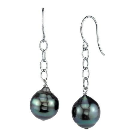 9mm Tahitian South Sea Baroque Cultured Pearl Dangling Tincup Earrings