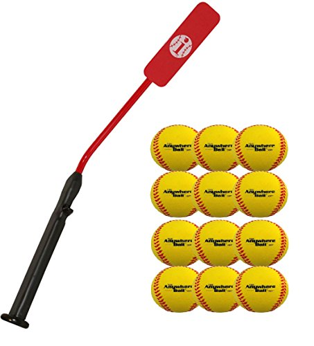 Insider Bat Size 6 (Ages 12 and Under) & 12 Anywhere Balls Complete Baseball Softball Batting Practice Kit