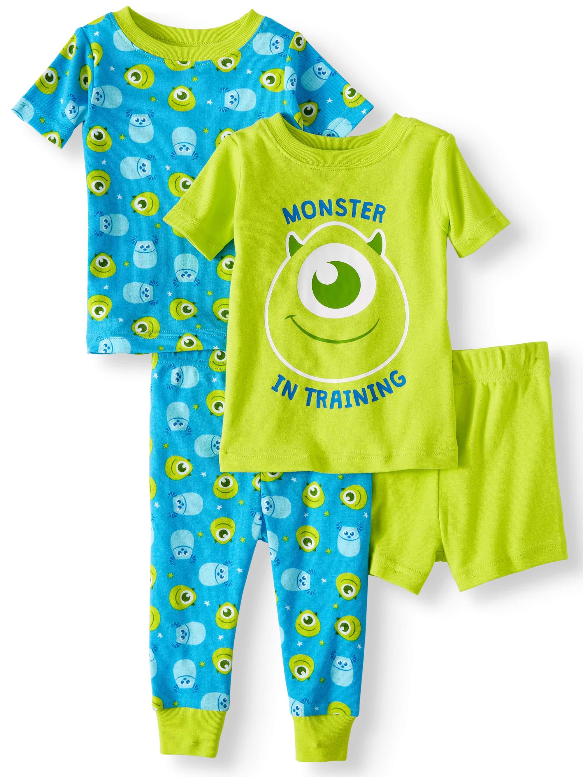 Cotton Tight Fit Pajamas, 4pc Set (Baby Boys)