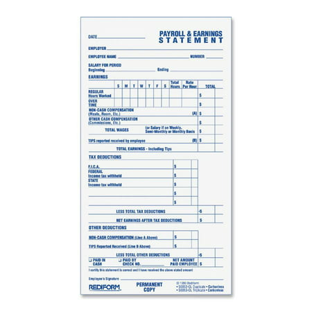 Rediform, REDS6052CL, 2-part Individual Time/Payroll Records, 1 Each