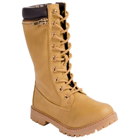 Anna Dallas 17K Girls Lug Sole Lace Up Zip Ankle High Hiking Boots w/ Top Zipper](Girls Clearance Boots)