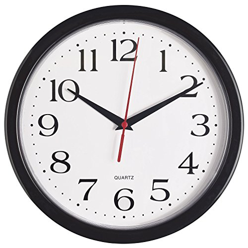 Bernhard Products Black Wall Clock Silent Non Ticking Quality