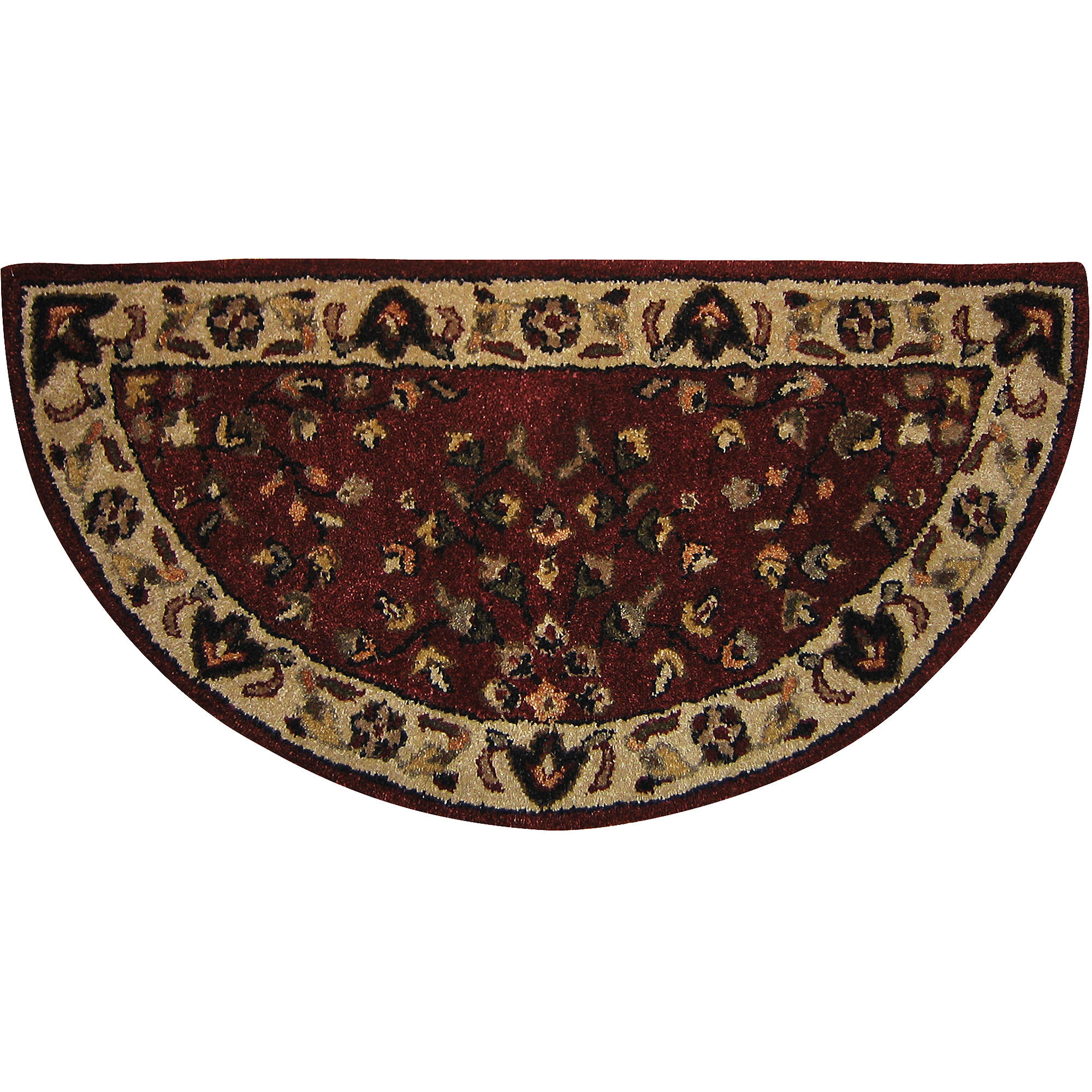 Uniflame Half-Circle Floral Hearth Rug, Red and Beige by Blue Rhino Global Sourcing, Inc