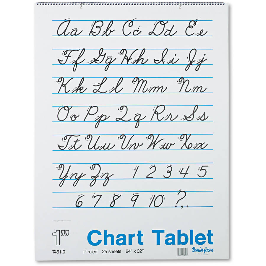 Pacon Chart Tablets w/Cursive Cover, Ruled, 24 x 32, White, 25 Sheets/Pad