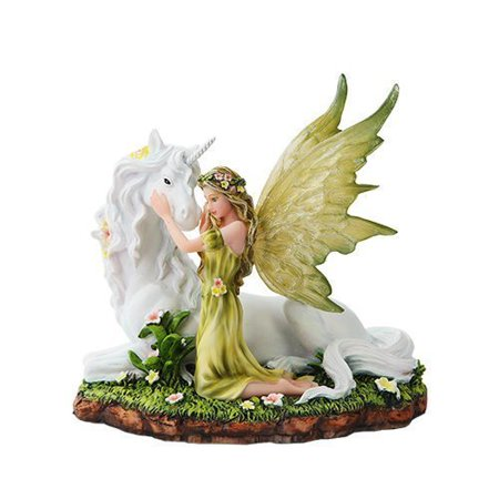 7 Inch Green Winged Fairy with Magical Unicorn Statue Figurine