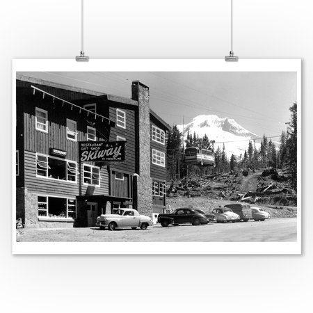 Mount Hood, Oregon - Govt. Camp Skiway Terminal to Timberline Exterior View (9x12 Art Print, Wall Decor Travel Poster) (Mount Hood Timberline)