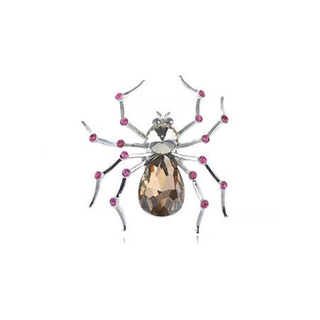 Dazzling Topaz Bead Fuchsia Crystal Rhinestone Spider Costume Jewelry Pin