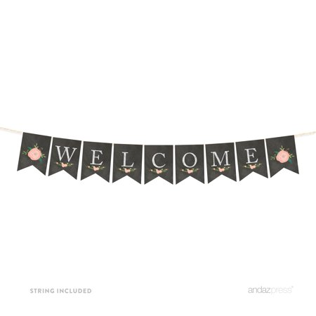 Welcome Chalkboard Floral Girl Baby Shower Pennant Party Banner