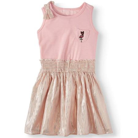 Forever Me Flamingo Dress with Stripe Skirt (Toddler