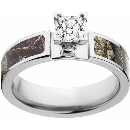 Realtree AP Women's Camo 1 Carat T.G.W. Princess CZ in 14kt Whit Gold Prong Setting Cobalt Engagement Ring with Polished Edges and Deluxe Comfort Fit 3 Stone Princess Ring Setting