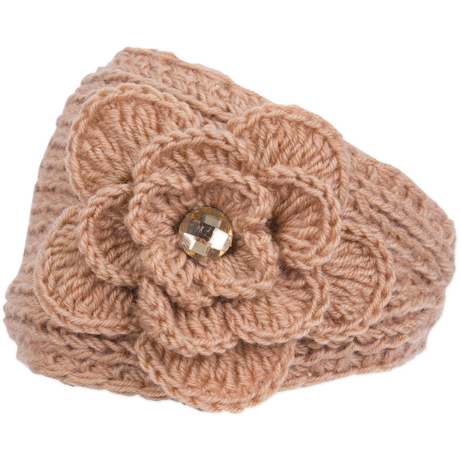 Magid Headwrap with Flower & Rhinestone, Camel