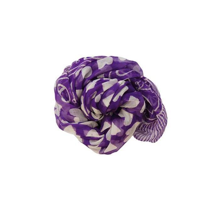 Sarah Stewart Hearts Desire Silk Scarf or Sarong, Purple