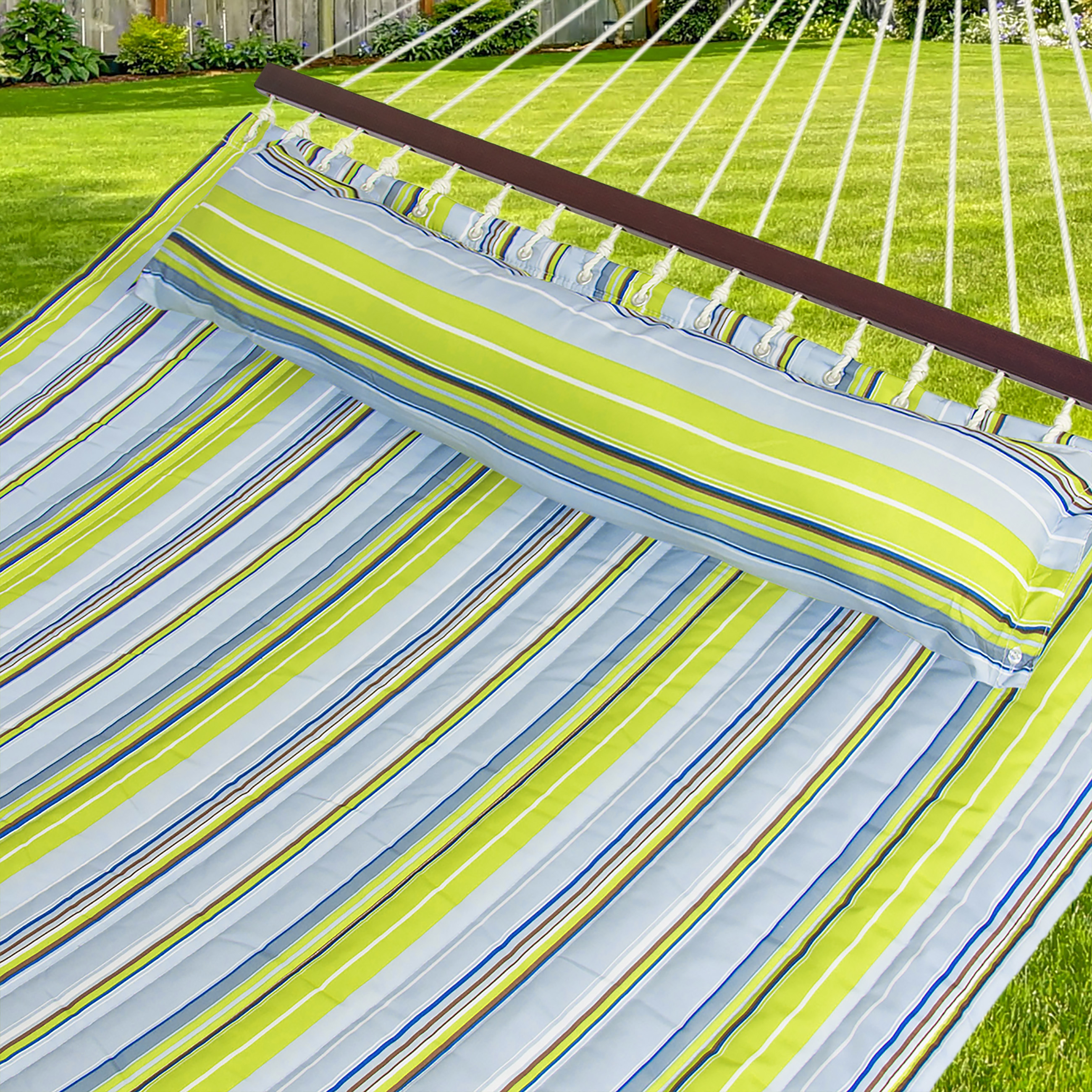 Best Choice Products Quilted Double Hammock W Detachable Pillow Spreader Bar Blue And Green Stripe