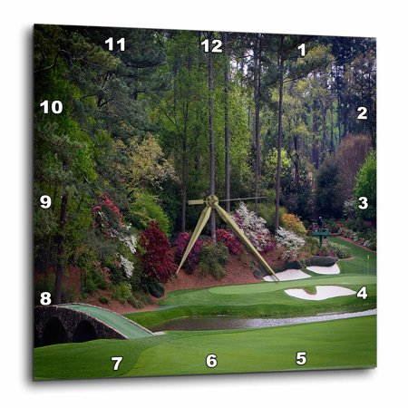 - 3dRose Augustas Amen Corner Golf Course - Golfers on Bridge, Wall Clock, 10 by 10-inch