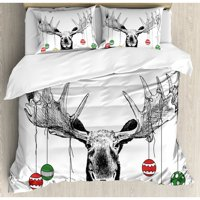 Ambesonne Moose Christmas with Xmas Ornaments Balls Hanging from Horns Funny Noel Sketch Art Duvet Cover Set