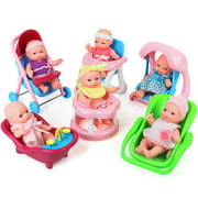 Click N? Play Set of 6 Mini 5? Baby Girl Dolls with accessories, Stroller, High Chair, Bathtub, Infant Seat, Swing, Walker.