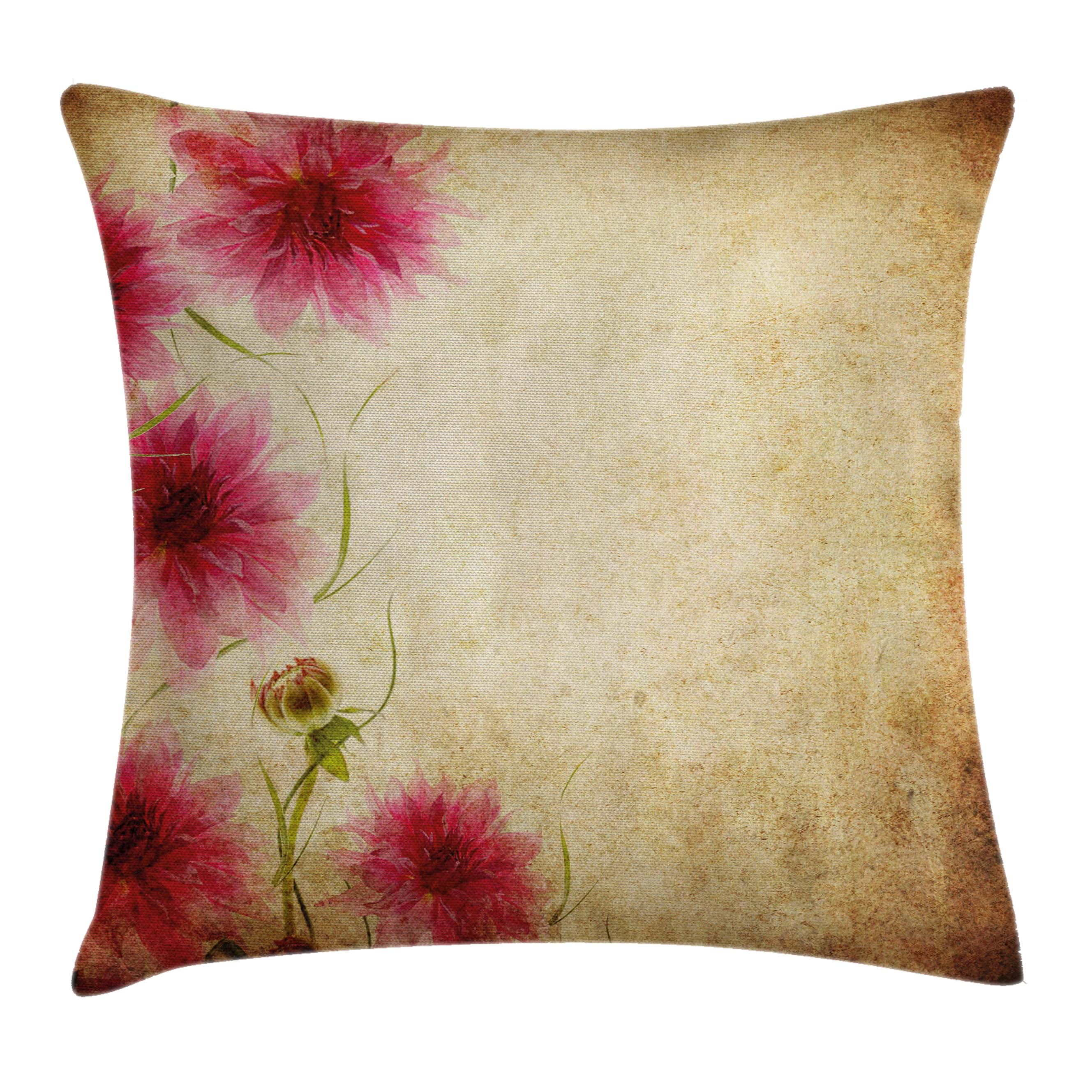 Floral Throw Pillow Cushion Cover Retro Flowers On Old Grunge Paper