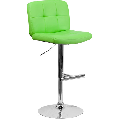 Contemporary Vinyl Adjustable Height Barstool with Wide Seat and Chrome Base, Multiple Colors