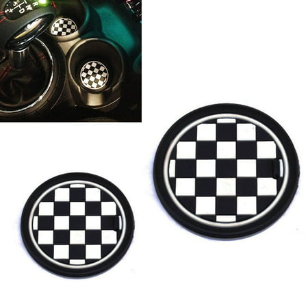 iJDMTOY (2) 73mm Black/White Checkered Checkerboard Pattern Soft Silicone Cup Holder Coasters For MINI Cooper R55 R56 R57 R58 R59 Front Cup Holders