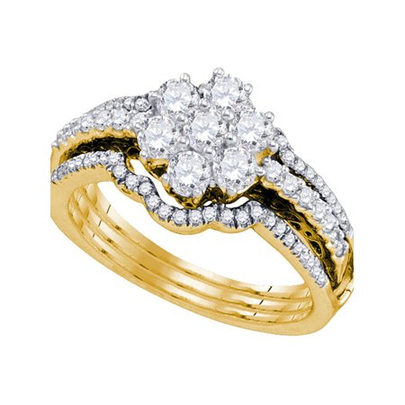 14kt Yellow Gold Womens Diamond Cluster Bridal Wedding Engagement Ring Band Set 1.00 Cttw - image 1 of 1