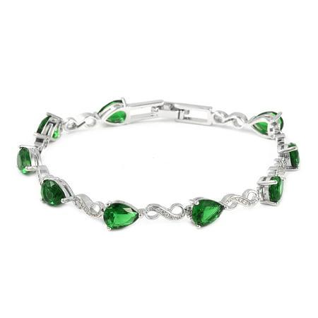 "Bracelet Green Glass White Cubic Zirconia CZ Jewelry Gift for Women Size 7.25"" Cttw 4.9"