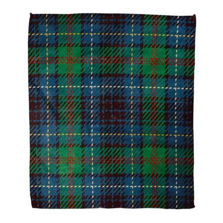 LADDKE Flannel Throw Blanket Scottish Tartan Red Blue Black and Green Plaid Pattern Printing Flannel Patterns Tiles for Kilt 50x60 Inch Lightweight Cozy Plush Fluffy Warm Fuzzy Soft