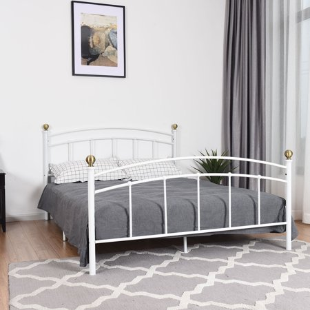 gymax queen size metal bed frame platform metal slat support headboard. Black Bedroom Furniture Sets. Home Design Ideas