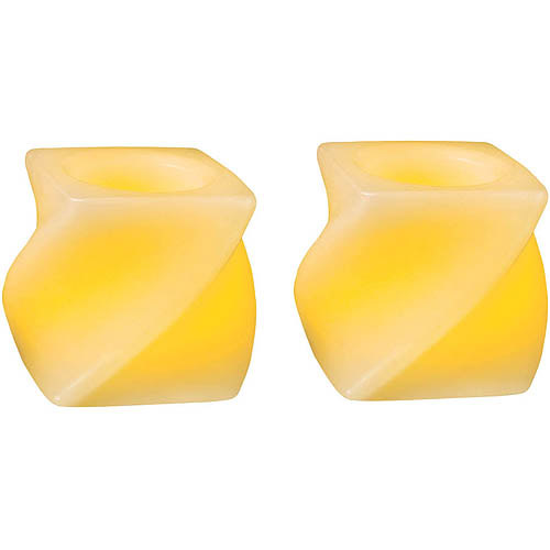 Northern International Inc Inglow CG24102CR201 Flameless Mini Twisted Squares Candle, 2;, Cream