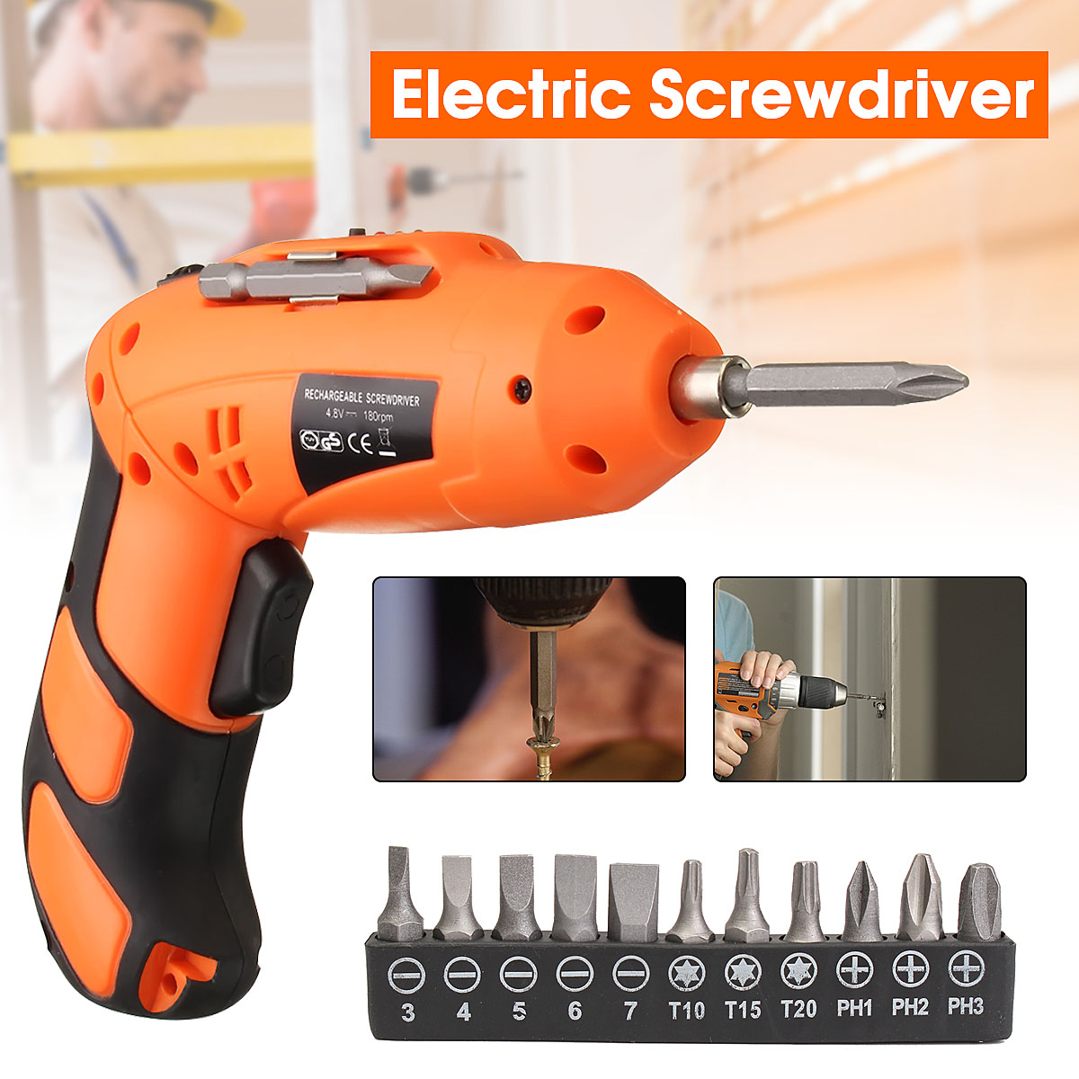 Rechargeable Drill Shank Star Hex Bits Cordless Screwdriver Electric Screwdriver Set +Magnetic Bit Holder 3.6/4.8V