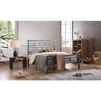 Hodedah Complete Grey Metal Bed, Multiple Sizes