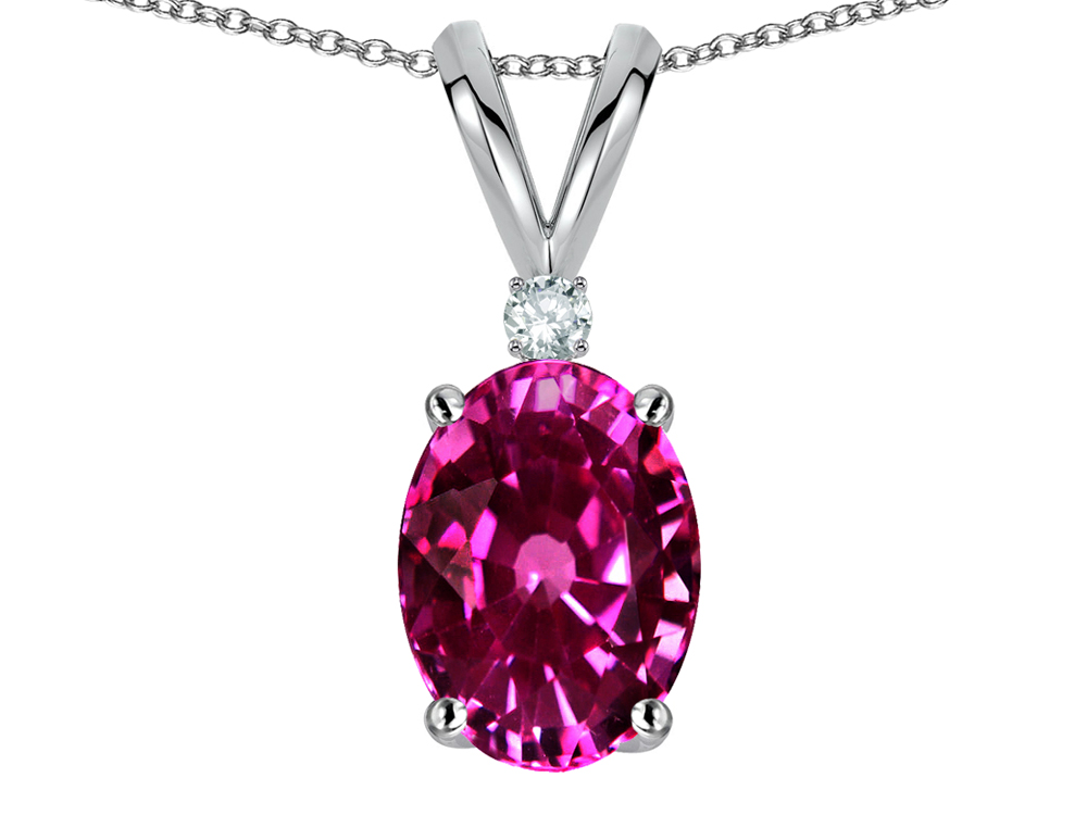 Star K Oval 7x5mm Simulated Pink Tourmaline Pendant Necklace in 14 kt White Gold by