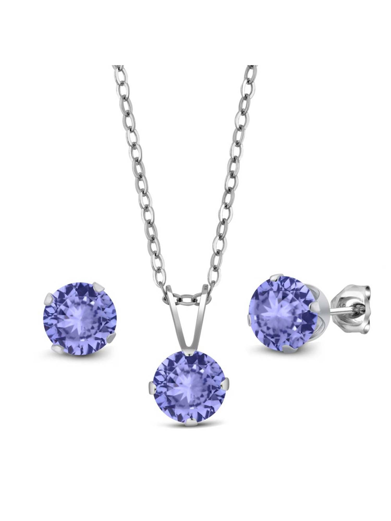 2.40 Ct Blue Tanzanite AAA 925 Sterling Silver Pendant Earrings Set With Chain by