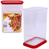 Glad 2327916 11-Cup Rectangular Storage Container, Clear & Red - Case of 6