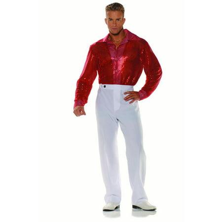 70s Dancer Silhouette (Red Sequin Mens Adult 70s Disco Dancer Halloween Costume)
