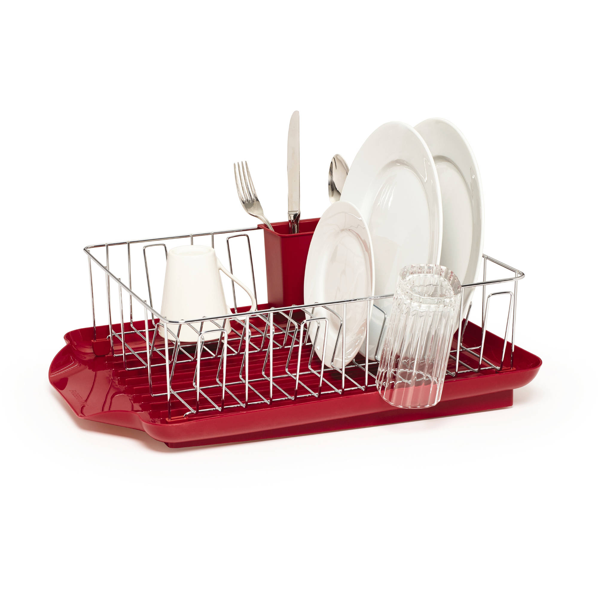 Farberware Professional 3-Piece Dish Rack Set, Red