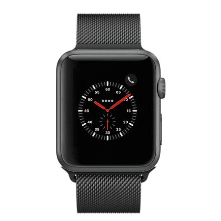 Apple Watch Series 3, 42MM, GPS + Cellular, Space Gray Aluminum Case, Black Milanese Loop (Non-Retail Packaging) ()