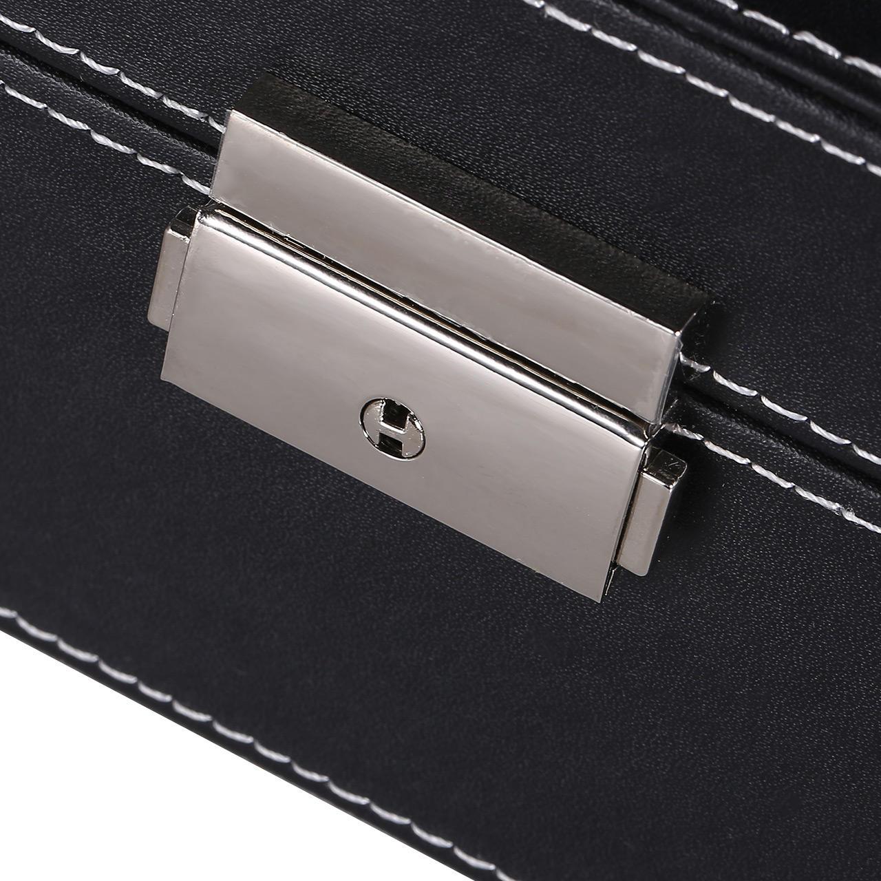 Jewelry Box Watch box Leather Organizer Storage Case with Lock Mirror ,Black -SortWise™ - image 4 de 5