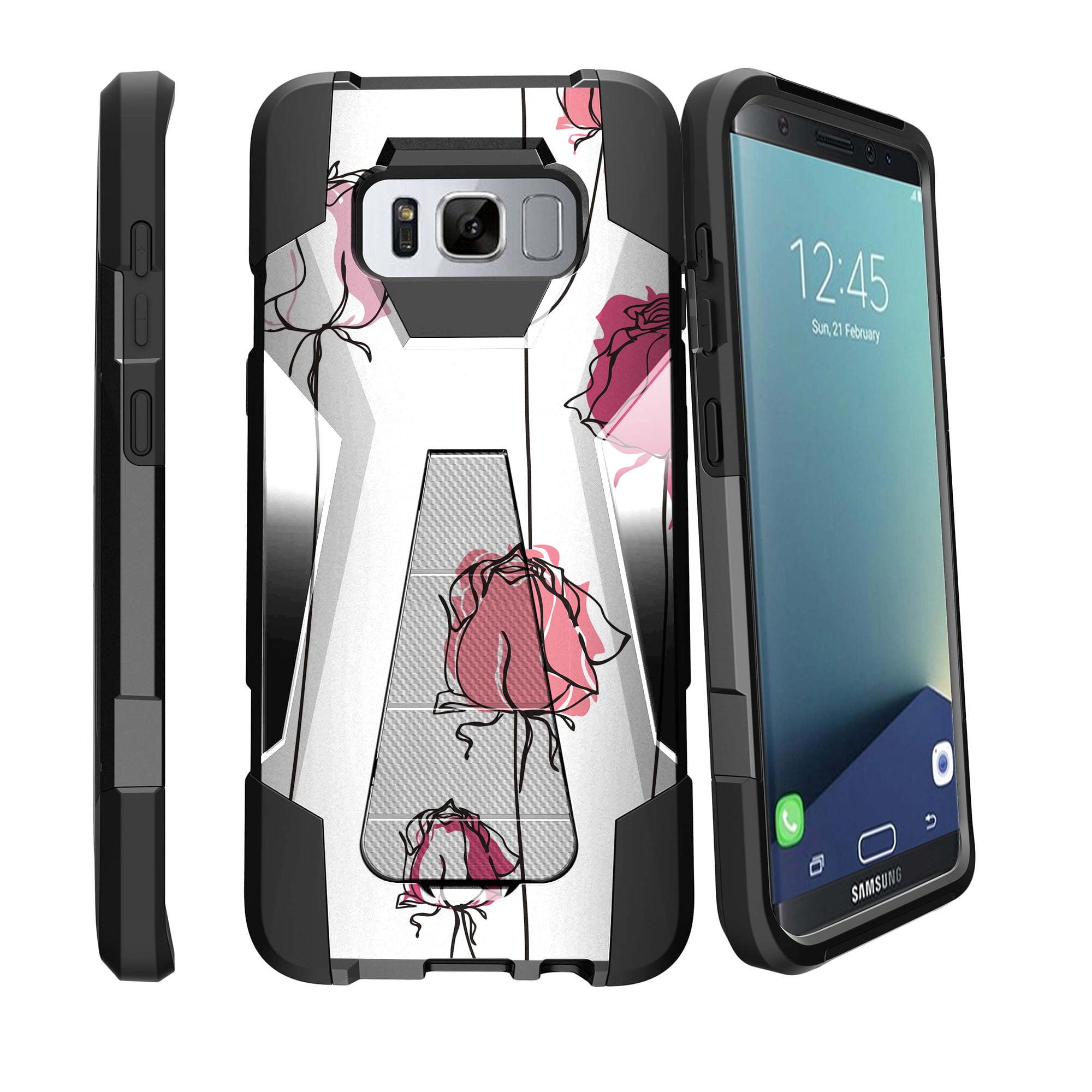 Case for Samsung Galaxy S8 PLUS version | S8 PLUS version Hybrid Case [ Shock Fusion ] Hybrid Layers and Kickstand Case Flower Collection