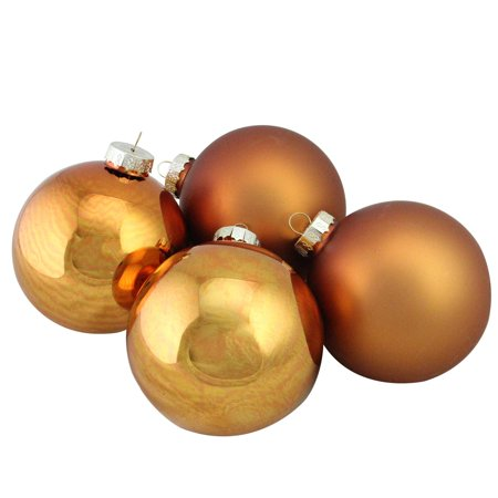 Copper Christmas Ornaments.4 Piece Shiny And Matte Copper Glass Ball Christmas Ornament Set 4 100mm