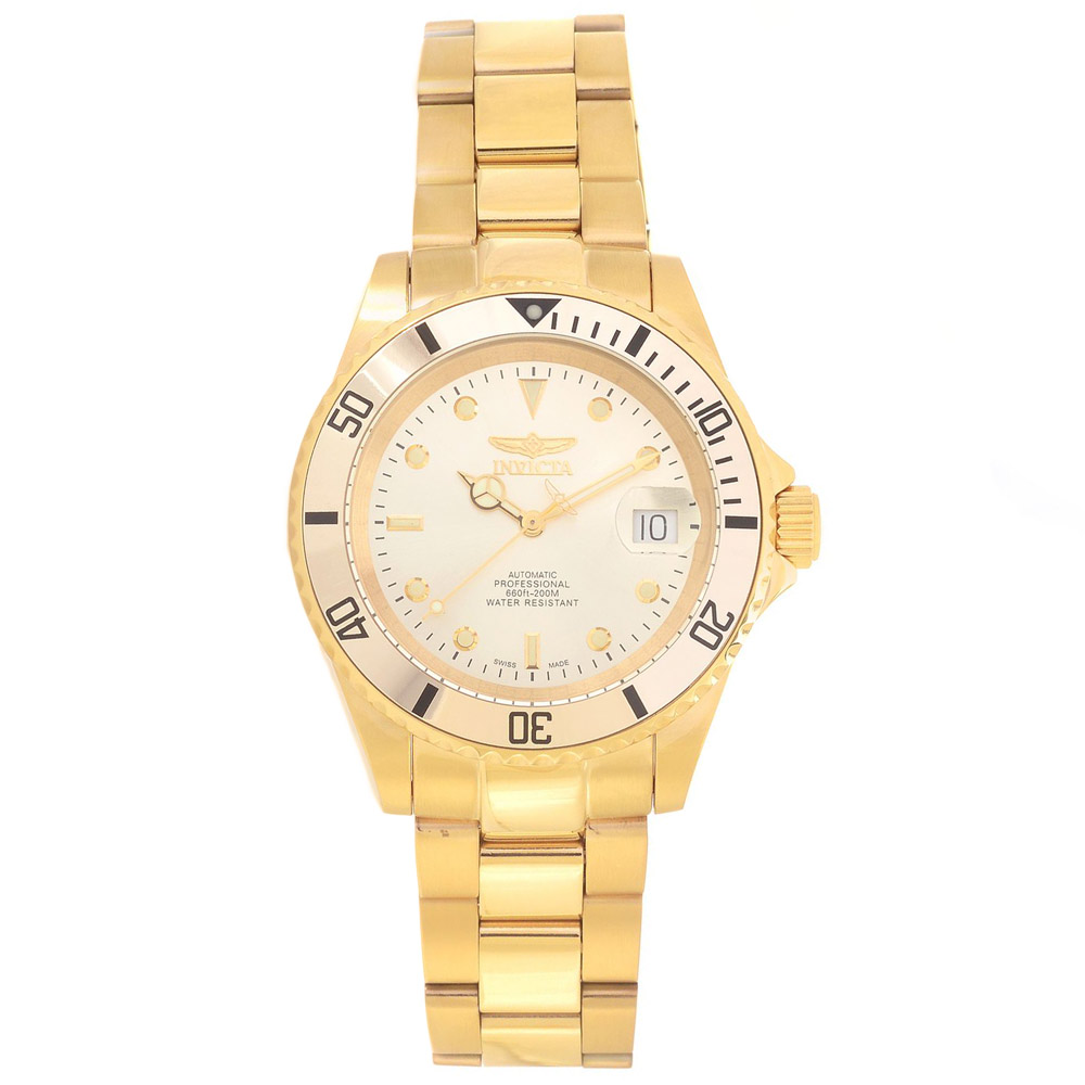 Invicta 18508 Men's Pro Diver Gold Dial Yellow Gold Steel...