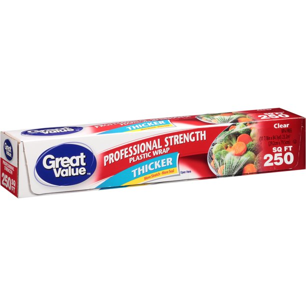 Great Value Professional Strength Plastic Wrap, Thicker, 250 sq ft