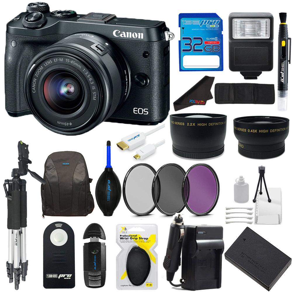 Canon M6 EOS 24.2MP Mirrorless Digital SLR Camera with EF-M 15-45mm IS STM Lens (Black) + 32GB SDXC Memory Card + Pixi Advanced Accessory Bundle