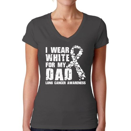 Awkward Styles Women's I Wear White for My Dad V-neck T-shirt Lung Cancer Awareness - Lung Cancer Awareness Color