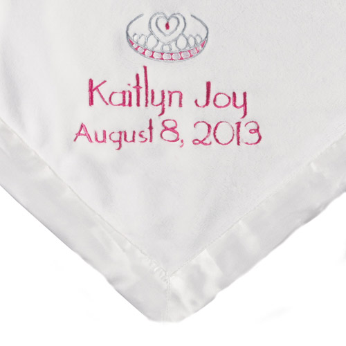 Personalized Satin Trim White Baby Blanket, Pink Name, Date and Crown