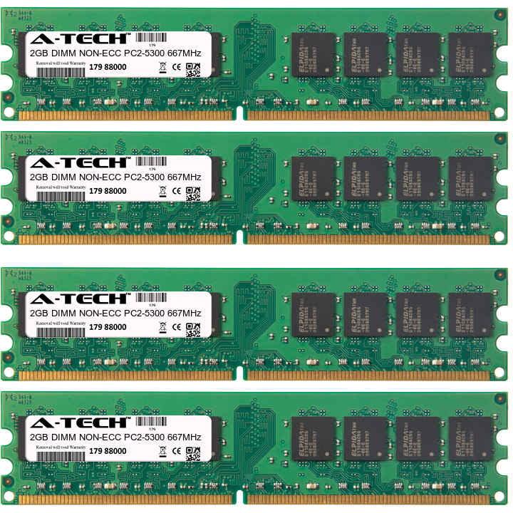 8GB Kit 4x 2GB Modules PC2-5300 667MHz NON-ECC DDR2 DIMM Desktop 240-pin Memory Ram