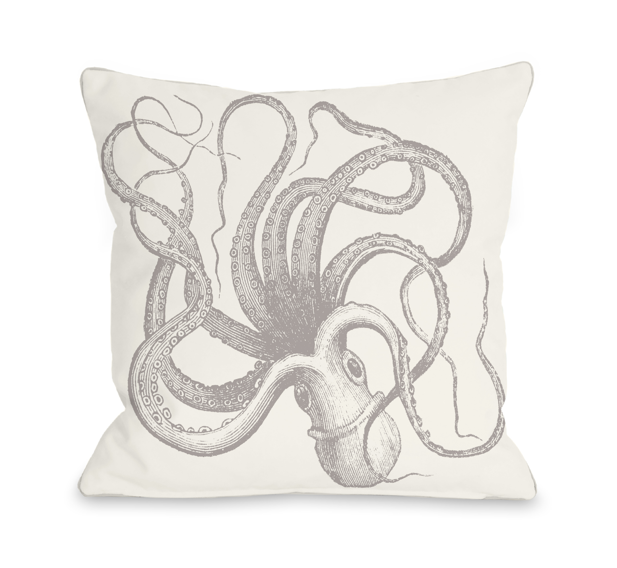 Natural Octopus - Tan 16x16 Pillow by OBC
