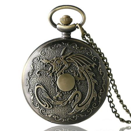Steampunk Kids (Bronze Steampunk Vintage pocket watch for kids, Antique Bronze Evil Dragon pocket watches gift, Fire Quartz Necklace Pendant watch for)